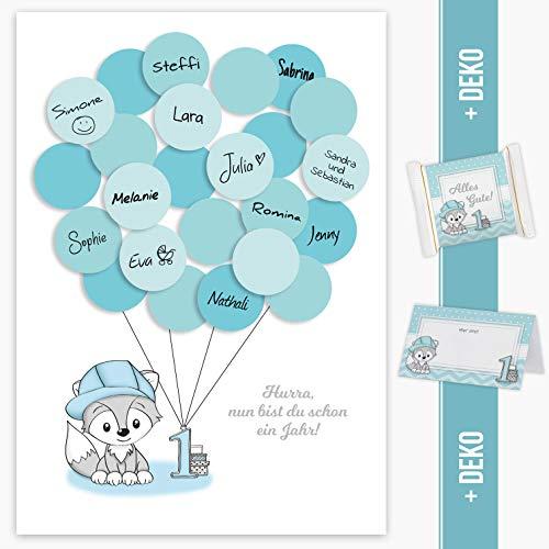 Mia Félice Erster Geburtstag, 1. Geburtstag Geschenk, Gastgeschenk, Deko, Andenken, Idee, Glückwünsche, Fingerabdruck, Erinnerungsstück, Fuchs, Junge, blau