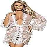 CHIDAOWomens Sexy Lingerie Set Plus Size Babydoll Nightwear Kimono bata de encaje transparente Camisones con tanga Blanco blanco XXL/3XL