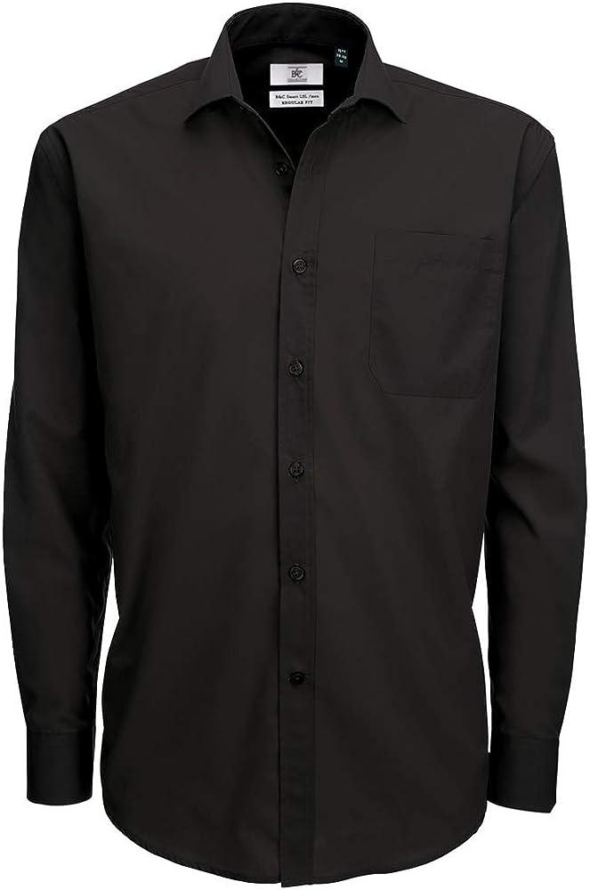 BC Footwear B&c Mens Smart Long Sleeve Poplin Shirt Camisa de Oficina para Hombre