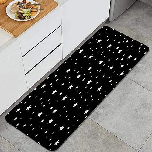 PANILUR Alfombras para Cocina Baño de Cocina,Dibujo de Estrellas Patrón de Galaxia Blanca Estrella Astrología Retro en Color Negro Efecto Abstracto,para Dormitorio Baño Antideslizantes