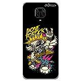 dakanna Funda para [ Xiaomi Redmi Note 9S – 9 Pro – 9 Pro MAX ] de Silicona Flexible, Dibujo Diseño [ Esqueleto Guitarra Rock ], Color [Borde Transparente] Carcasa Case Cover de Gel TPU