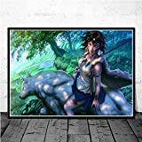 jiuyangshengong Princesa Mononoke Studio Ghibli Anime Posters e Impresiones Lienzo Pintura Cuadros de Pared para la decoración de la Sala de Estar Decoración del hogar (50X70Cm) Sin Marco OAD1661