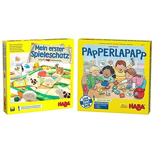 Haba 4278 - Mein erster Spieleschatz Die große Haba-Spielesammlung, 10 unterhaltsame Brett-, Memo- und Kartenspiele ab 3 Jahren & Papperlapapp, Lernspielsammlung mit 6 Spielen für Kinder ab 3 Jahren