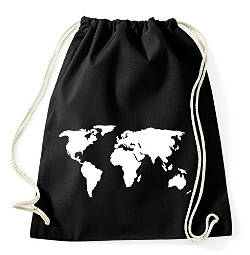 Weltkarte Gym Bag Turnbeutel Rucksack Sport Hipster Style in 8 Farben, Farbe:Schwarz