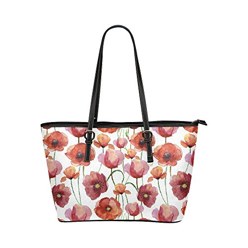 InterestPrint Watercolor Red Poppy Blossoms Flowers Leather Tote Bags Handbags with Zipper for Women