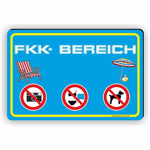 Fassbender-Druck SCHILDER FKK Bereich/Freikörperkultur/FKK Strand- Schild/D-064 (30x20cm Schild)