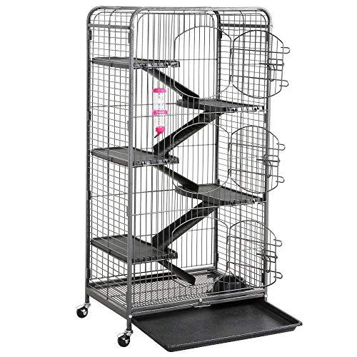 Yaheetech Grande Cage pour Rongeurs Furets écureuils Chinchillas - 6 Niveaux 64 x 44 x 131 cm Noir