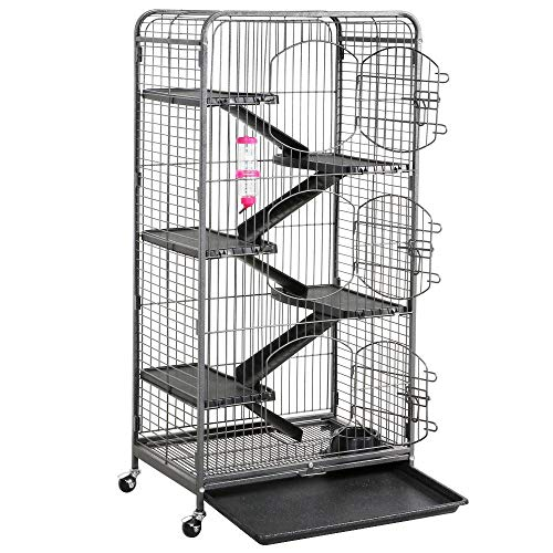 go2buy Metal 6 Levels Ferret Cage Playpen for Rabbit Chinchilla Squirrels w/3 Doors/Bowl/Water Bottle 25.2 x 16.9 x 51.6 Inch Black