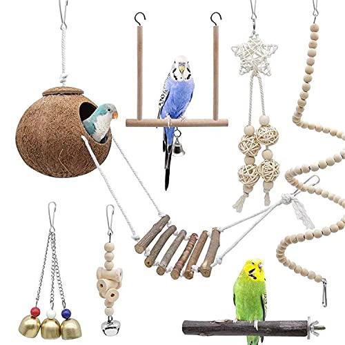Juguetes de Loro Pájaro, 7pcs Juguetes para Pájaros Juguete Colgante para Mascotas con Campanas,Escalera de Madera, Que cuelga la Perca Juguete para pequeños y medianos Loros de Aves (a)