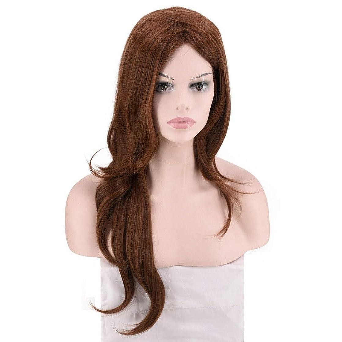 行くステレオタイプ木曜日BOBIDYEE 女性用ミディアムロングカーリーブラウンかつら人工ボブのかつら耐熱フル毛髪のかつらロールウィッグロールプレイングかつら (色 : M6/30)