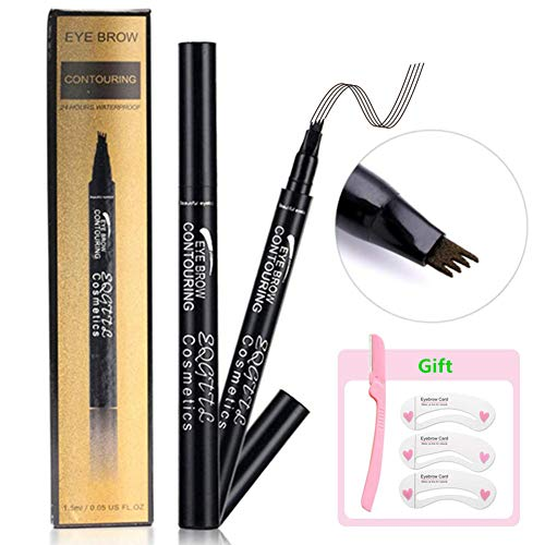 2PACK Eyebrow Tattoo Pen Waterproof Tat Brow Microblading Eyebrow Tattoo Pencil with a Micro Fork Tip Applicator Creates Natural Looking Brows Effortlessly for Eyes Makeup (01#Chestnut)