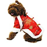 WORDERFUL Dog Blessing Cheongsam Chinese Traditional Pet Chrysanthemum Coat Winter Cat New Year Costume for Small Medium Dogs Cats (M, Chrysanthemum)