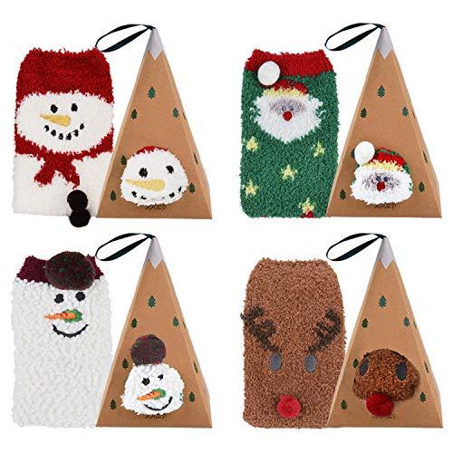 Bageek Weihnachtssocken 4 Paare Flauschige Damen Socken Rentier Schneeflocke Socken Korallenvlies Socken