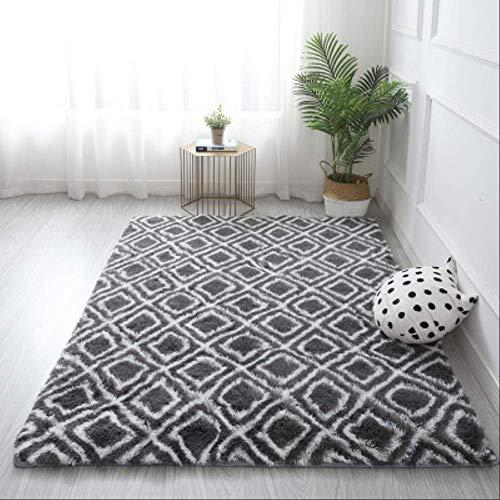 Shaggy Tie-dye Carpet Printed Plush Floor Fluffy Mats Kids Room Faux Fur Area Rug Living Room Mats Silky Rugs 40x60cm Grey Square