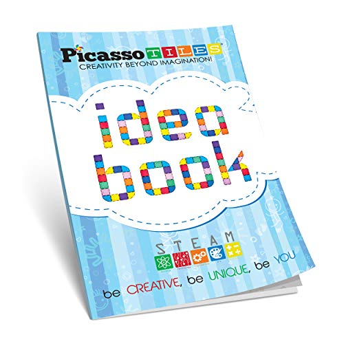 PicassoTiles STEM Learning Idea Book with Over 150+ Ideas 110 Pages of Unique Innovative Creations for Magnet Tile Building Block Magnetic Toy Construction Sets, Easy to Read Instructions Kids Age 3+