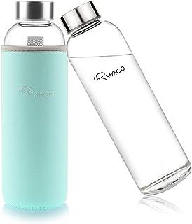 comprar comparacion Ryaco Botella de Agua Cristal 550ml, Botella de Agua Reutilizable 18 oz, Sin BPA Antideslizante Protección Neopreno Llevar...