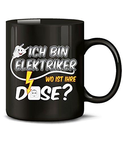 Ich bin Elektriker wo ist ihre Dose Tasse Becher Kaffeetasse Kaffeebecher mit spruch Artikel Geschenke Geburtstag Geschenkidee Geschenkartikel zubehör werkzeug set job beruf baustelle handwerk deko