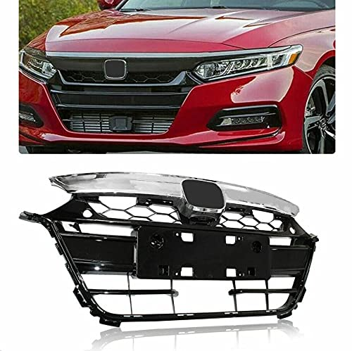 Chrome Black Front Upper & Lower Bumper Grilles Grill Set Replacement for Honda Accord 2018-2019