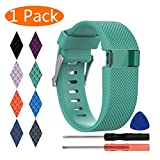 KingAcc Compatible Replacement Bands for Fitbit Charge HR, Soft Silicone Band with Metal Buckle Fitness Wristband Sport Strap Women Men (1-Pack, Teal Blue, Large)