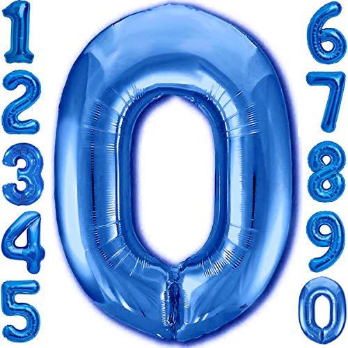Luftballon Geburtstag Zahl 0 Blau XXL Riesen Folienballon 100cm Geburtstagsdeko Jungen Ballon Zahl Deko zum Geburtstag. Fliegt mit Helium.