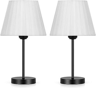 Lot de 2 mini lampes de chevet avec abat-jour en tissu blanc et base en métal pour le salon, la chambre à coucher, la chambre