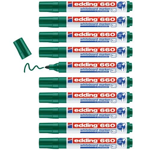 Edding 660 marcador para pizarras blancas - verde - 10 rotuladores - punta redonda 1.5-3 mm - rotulador para pizarra blanca, borrado en seco - pizarra blanca, flipchart, tablón de notas - recargable