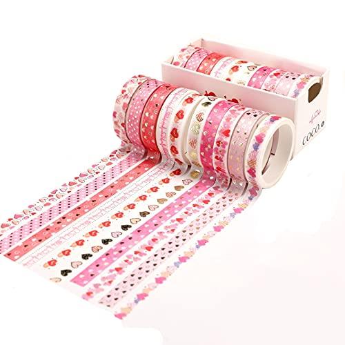 10 rollos de cinta adhesiva con purpurina, papel decorativo para bricolaje, manualidades, embalaje de scrapbooking artesanía, niños (corazón)