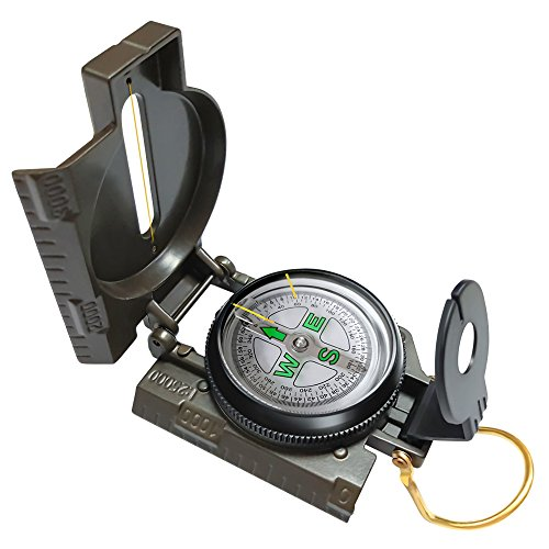 VANVENE Multifunctional Military Compass, Amy Green, Waterproof and Shakeproof, Compass for Outdoor, Camping, Hiking, Military Usage, Gifts
