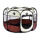MKISHINE Parc Pliable à Chiots Chien Chaton Chat Lapin Enclos Facile à Installer Parfait pour Chiens Jouer dans la Jardin Taille Disponnible (73 * 73 * 43CM, Brun)