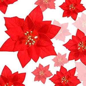 24 Pieces Christmas Red Poinsettia Flowers Christmas Artificial Flowers Wedding Xmas Tree New Year Ornaments