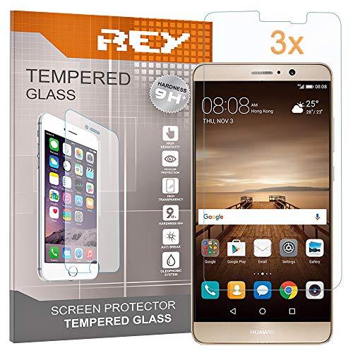 REY 3X Protector de Pantalla para Huawei Mate 9, Cristal Vidrio Templado Premium