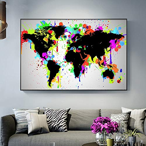 Lunderliny 1 Pieces Colorful World Map Hd Print On Canvas Paintings For Living Room Modern Home Decor Wall Art Pictures Artworks 40x60cm