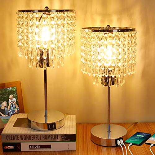 Set of 2 Crystal Touch Control Table Lamp, 3-Way Dimmable Bedside Lamps with Dual USB Charging Ports, K9 Crystal Shade Nightstand Bedside Desk Light for Bedrooms Living Room, E26 6W LED Bulb Included