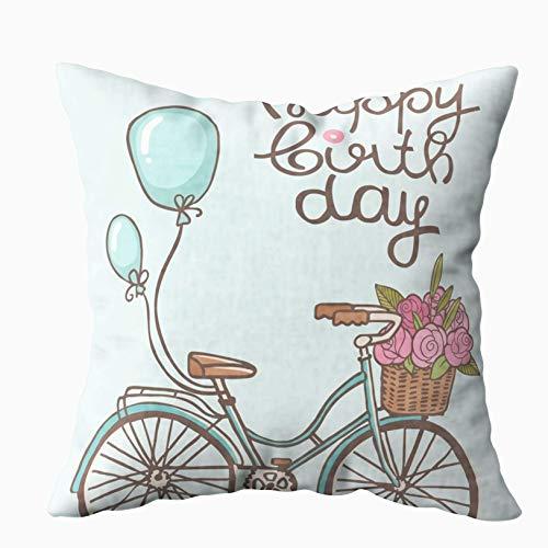 Juli BicycleFloral Kussenslopen, Kussensloop verjaardagskaart schattig gelukkig ballon fiets art backgro