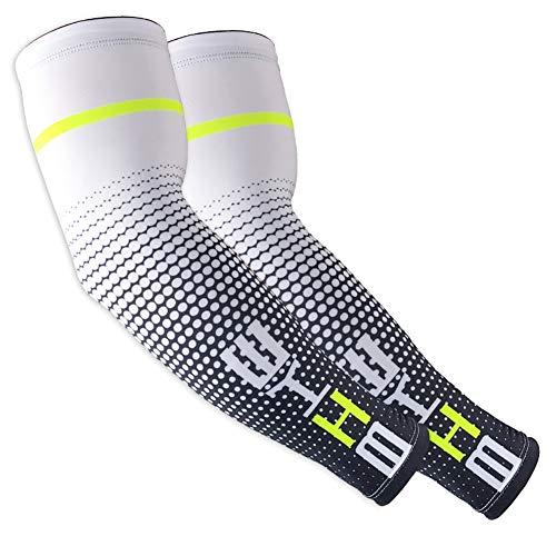 Unisex Manicotti Compressione Braccia, Uomo, Anti-UV Protezione Solare UPF 50+ Traspirante Manicotti Sportivi da Running, Ciclismo, Pallavolo, 1 Paio Scaldamuscoli Manicotti Donna (Bianco, XL)