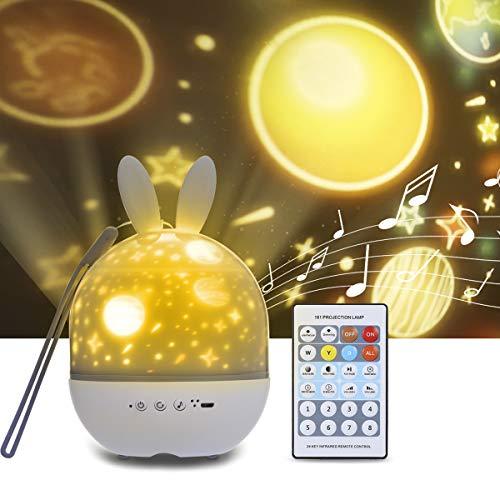Tomshine lámpara de proyector estrellada con forma de conejo de control remoto Con función de sincronización Forma de conejo 6 juegos de tarjetas deslizantes 8 música