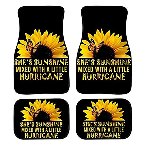 Dolyues Sunflower Black Car Floor Mats All Weather Full Set 4 Pieces, Front and Rear Auto Interior Carpet, Butterfly Fly to Sunflower Automotive Foot Mat Heavy Duty Durable Universal Fit for SUV