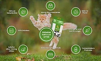 Litière naturelle pour chat en tofu 15L extra forte agglomération en 3 s, 6,50 kg maïs 100% biodégradable extra absorbant, anti-odeurs, original