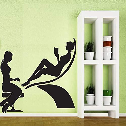 woyaofal Elegancia de Las Mujeres Etiqueta de la Pared para SPA salón de manicura de Belleza Tienda de Pared decoración de la Ventana Vinilo Arte calcomanías Mural Impermeable z 77x57 cm