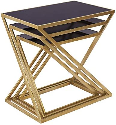 Best Decor Nesting End Tables Set of 3, Modern Small Accent Coffee Side Tables for Living Room, Black Gla