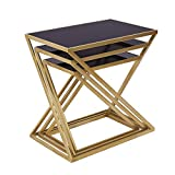 Decor Nesting End Tables Set of 3, Modern Small Accent Coffee Side Tables for Living Room, Black Glass Top and Gold Leg