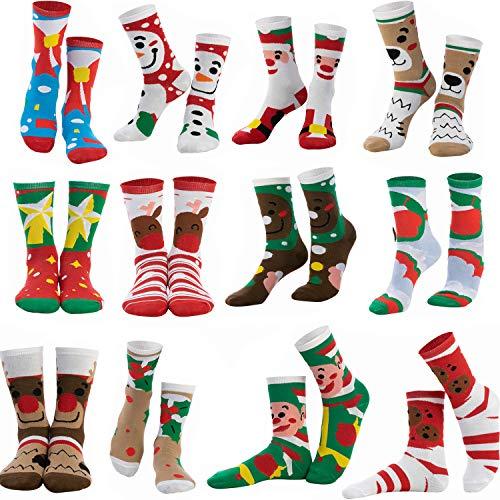 12 Pairs Christmas Holiday Warm Soft Cotton Socks Set for Christmas for Winter Christmas, Holiday or Birthday Gift