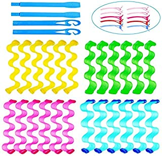 24 Pieces Hair Curlers no heat curlers Magic Hair Curlersno heat curlers for long hair Rollers Heat less Wave Styles with ...
