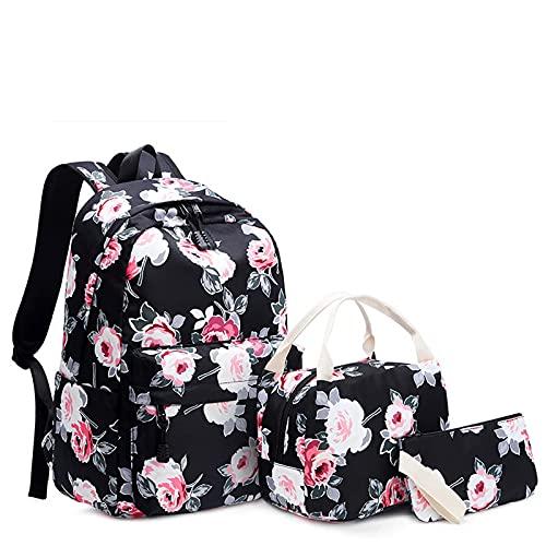 AFHB Zaino donna borsa Oxford borsa stampata ricamata borsa stile etnico borsa isolante portatile tre pezzi zaino femminile (1)