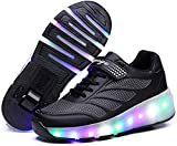 Unisex Niños Zapatos con Ruedas LED Zapatos Luminosos con Luz a Zapatillas De Gimnasia Al Aire Libre Zapatillas De Skate Técnicas para Niños Niñas,Black-7 UK