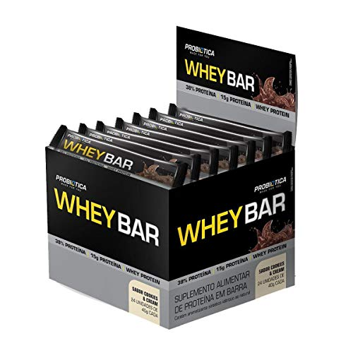 Whey Bar Low Carb (960g) Caixa 24 Unidades - Sabor Cookies, Probiótica