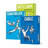 Exercise Cards 3 Pack of 62 - Cable Machine, Foam Roller, Battle Rope:: 50 Strength Training Exercises for a Total Body Workout :: Extra Large, Waterproof & Durable, With Diagrams & Instructions