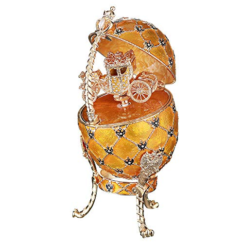 danila-souvenirs Huevo Ruso de Estilo Faberge/Caja de música/Caja de Joya con Escudo de Armas Ruso y carruaje 18 cm Amarillo