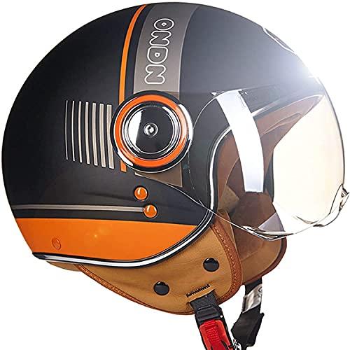 Casco Motocicleta Cara Abierta 3/4 con Visera Solar,Certificado ECE,Medio Casco Seguridad Retro,para Adultos,Unisex,Carcasa ABS,para Ciclomotor Scooter Cruiser(Color:3;Size:L)