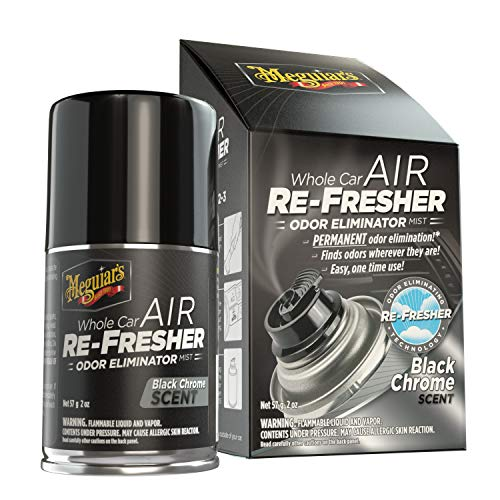 MEGUIAR'S G181302 Whole Car Air Re-Fresher Odor Eliminator Mist, Black Chrome Scent, 2 oz